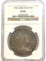 1798 $1 LARGE EAGLE DRAPED BUST DOLLAR TYPE 2 HERALDIC EXTRA FINE 45 NGC CERTIFIED