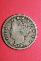 1884 LIBERTY V NICKEL 5 CENTS EXACT COIN SHOWN FLAT RATE SHIPPING OCE 068