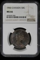 1966 CANADA. 50 CENTS. NGC GRADED MS 66 SOLO TOP NGC CENSUS.