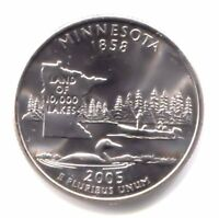 U.S. MINNESOTA LAND OF 10 000 LAKES STATE QUARTER 2005 D COIN   DENVER MINT