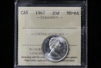 1967 CANADA. 25 CENTS. ICCS GRADED MS 64.