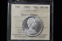 1965 CANADA. 50 CENTS. ICCS GRADED MS 64 HCAM.  XVW621