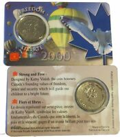 2000 CANADA 25 CENTS QUARTER FREEDOM PROOF LIKE SEALED IN RCM PLASTIC HOLDER