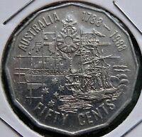 1988 AUSTRALIA COIN 50 CENTS ELIZABETH II FIRST FLEET KM 99