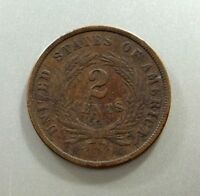 1864 SHIELD TWO CENTS US COIN - PHILADELPHIA MINT - LARGE MOTTO - FINE CONDITION