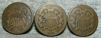 LOT OF 3 1871 TWO CENT PIECES 2CP -- LOW MINTAGE --  H855