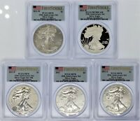 2011 5 COIN SILVER EAGLE SET PCGS PR/MS70 25TH ANNIVERSARY SET FLAG FIRST STRIKE