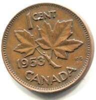 1953 CANADIAN MAPLE LEAF ONE CENT COIN   CANADA PENNY   QUEEN ELIZABETH