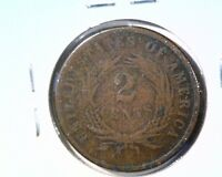 1866 2 CENT COIN GOOD DETAILS CORROSION