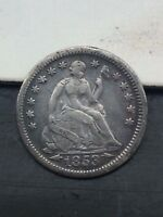 1853 WITH ARROWS SEATED LIBERTY HALF DIME SILVER US COIN F VF YOU GRADE IT
