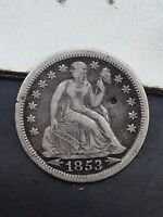1853 WITH ARROWS SEATED LIBERTY DIME 10 CENT SILVER US COIN F VF YOU GRADE IT