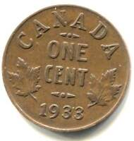 1933 CANADIAN 1 CENT MAPLE LEAF PENNY COIN   CANADA   KING GEORGE V
