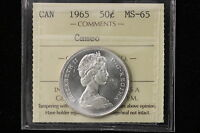 1965 CANADA. 50 CENTS. ICCS GRADED MS 65 CAMEO  XDS776
