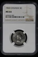 1963 CANADA. 5 CENTS. NGC GRADED MS 64