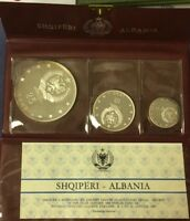 1968 ALBANIA PROOF SILVER SET 3 COINS    FREE    S/H