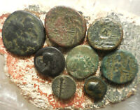 LOT OF 8 NICE ANCIENT GREEK COINS LARGEST 22.5 MM DETAILED SO EASY TO ID
