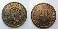 1961 MOZAMBIQUE 20 CENTAVOS BRONZE 18.2MM KM 85 CIRCULATED WORLD COIN