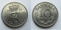1970 DENMARK 10 ORE FREDERIK IX COPPER NICKEL 18MM KM 849 CIRCULATED WORLD COIN