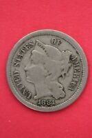 1881 THREE 3 CENT LIBERTY NICKEL EXACT COIN PICTURED FLAT RATE SHIPPING OCE0059
