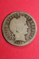 1908 P BARBER LIBERTY DIME EXACT COIN PICTURED FLAT RATE SHIPPING OCE 154
