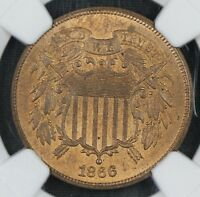 NGC MINT STATE 64 RB 1866 TWO CENT PIECE 2C  BC04