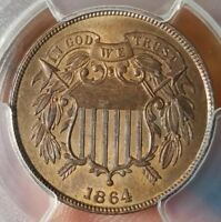 1864 TWO CENT PIECE 2C LARGE MOTTO PCGS MINT STATE 64 RB TYPE COIN