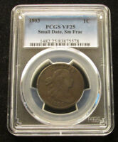 1803 DRAPED BUST LARGE CENT PCGS VF25 SMALL DATE SMALL FRACTION 1C ORIGINAL COIN