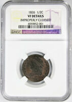 1826 1/2C HALF CENT VF DETAILS NGC CLASSIC HEAD US TYPE COIN