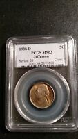 1938-D PCGS MINT STATE 63 JEFFERSON NICKLE - GREAT VALUE FOR THIS PARTICULAR COIN.