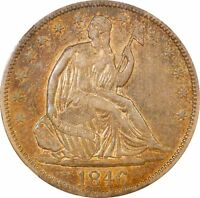 1846 TALL DATE SEATED LIBERTY HALF DOLLAR XF45 NGC WB 108
