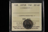 1871 H CANADA. 10 CENTS. ICCS GRADED EF 40.  XMU970