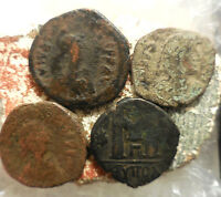 LOT OF 4 ANCIENT BYZANTINE COINS LARGEST 32 MM.