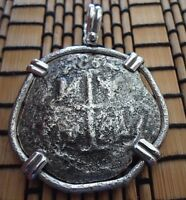 LARGE SHIPWRECK 8 REALES SILVER SPANISH TREASURE COB COIN STERLING PENDANT