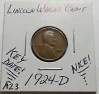 1924-D LINCOLN WHEAT CENT    KEY DATE  COMBINED SHIPPING LOT A23