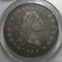 1795 FLOWING HAIR DOLLAR 2 LEAF  PCGS VF30. RICH ORIGINAL GUNMETAL GREY SURFACES