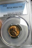 1923 LINCOLN CENT --- PCGS MINT STATE 64 SLABBED GRADED --- 192