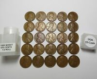 1/2 ROLL  1926 LINCOLN WHEAT CENTS 25 SOLID DATE COINS COMB SHIP  LOT S122