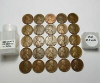 1/2 ROLL  1923 LINCOLN WHEAT CENTS 25 SOLID DATE COINS COMB SHIP  LOT S128