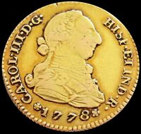 1778 M AI GOLD SPAIN 2 ESCUDOS CHARLES III COIN MADRID MINT