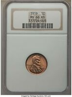 1919 1C MINT STATE 66 RED NGC LINCOLN WHEAT CENT ONE CENT