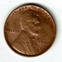 ABOUT UNCIRCULATED 1931-D LINCOLN WHEAT CENT. TOUGH DATE/MINT MARK SEE THE SCANS