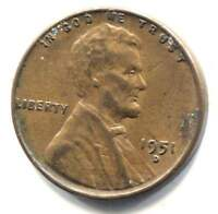 U.S. 1951 D LINCOLN WHEAT CENT - AMERICAN ONE CENT COIN - DENVER MINT