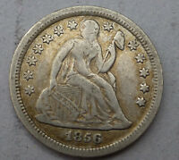1856 SEATED LIBERTY DIME FULL LIBERTY SOME DETAILS SMALL DATE