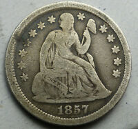 1857 SEATED LIBERTY DIME PARTIAL LIBERTY