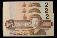 1986 CANADA.  $2  TWO DOLLARS. 3 X CONSECUTIVE NOTES. SERIES CBJ.
