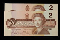 1986 CANADA.  $2  TWO DOLLARS. 2 X CONSECUTIVE.  SERIES EGR.