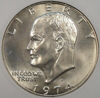 1974-S SILVER EISENHOWER DOLLAR ANACS MINT STATE 66 OLD SMALL HOLDER PURCHASED LATE 90'S