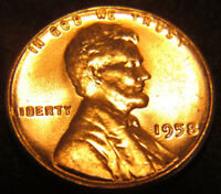 1958  LINCOLN WHEAT BACK CENT BLAZING RED UNCIRCULATED BU 1C  PENNY DSXC