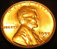 1955 D LINCOLN WHEAT BACK CENT BLAZING RED UNCIRCULATED BU 1C  PENNY SVTG