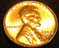 1958 D LINCOLN WHEAT BACK CENT BLAZING RED UNCIRCULATED BU 1C  PENNY 12124AS